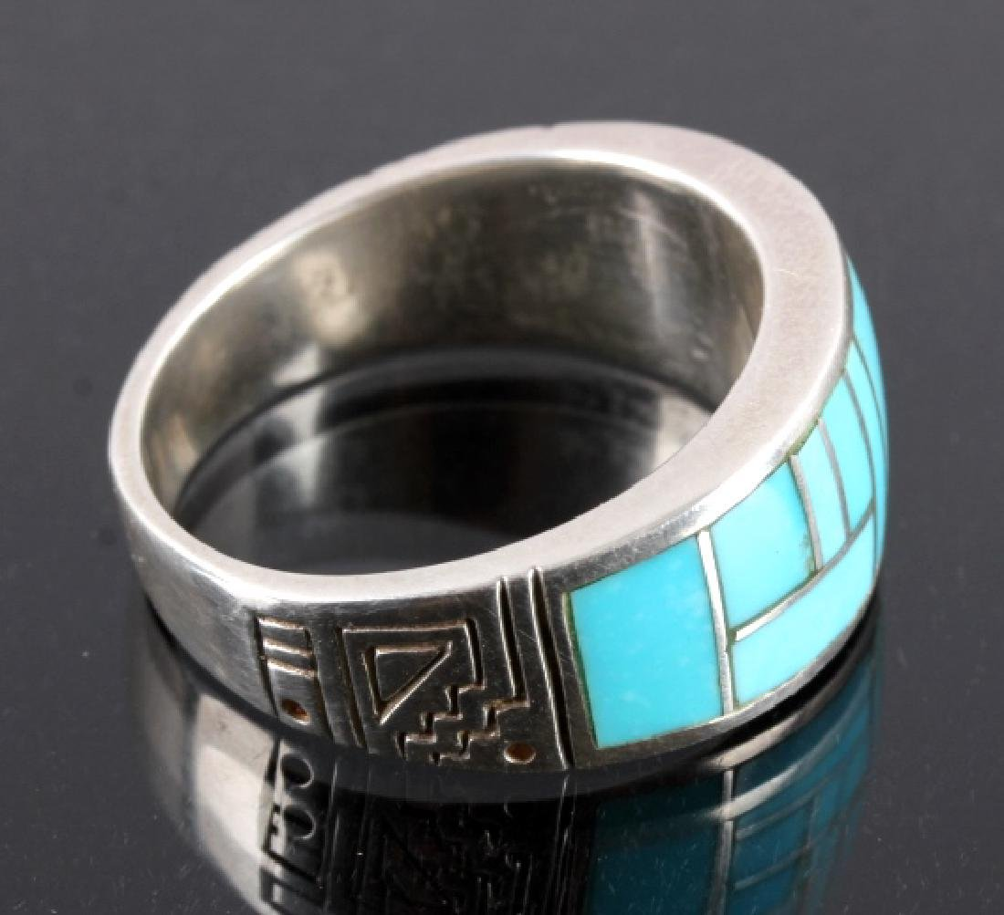 Ray Tracey Navajo Sterling Silver Turquoise Ring - 2