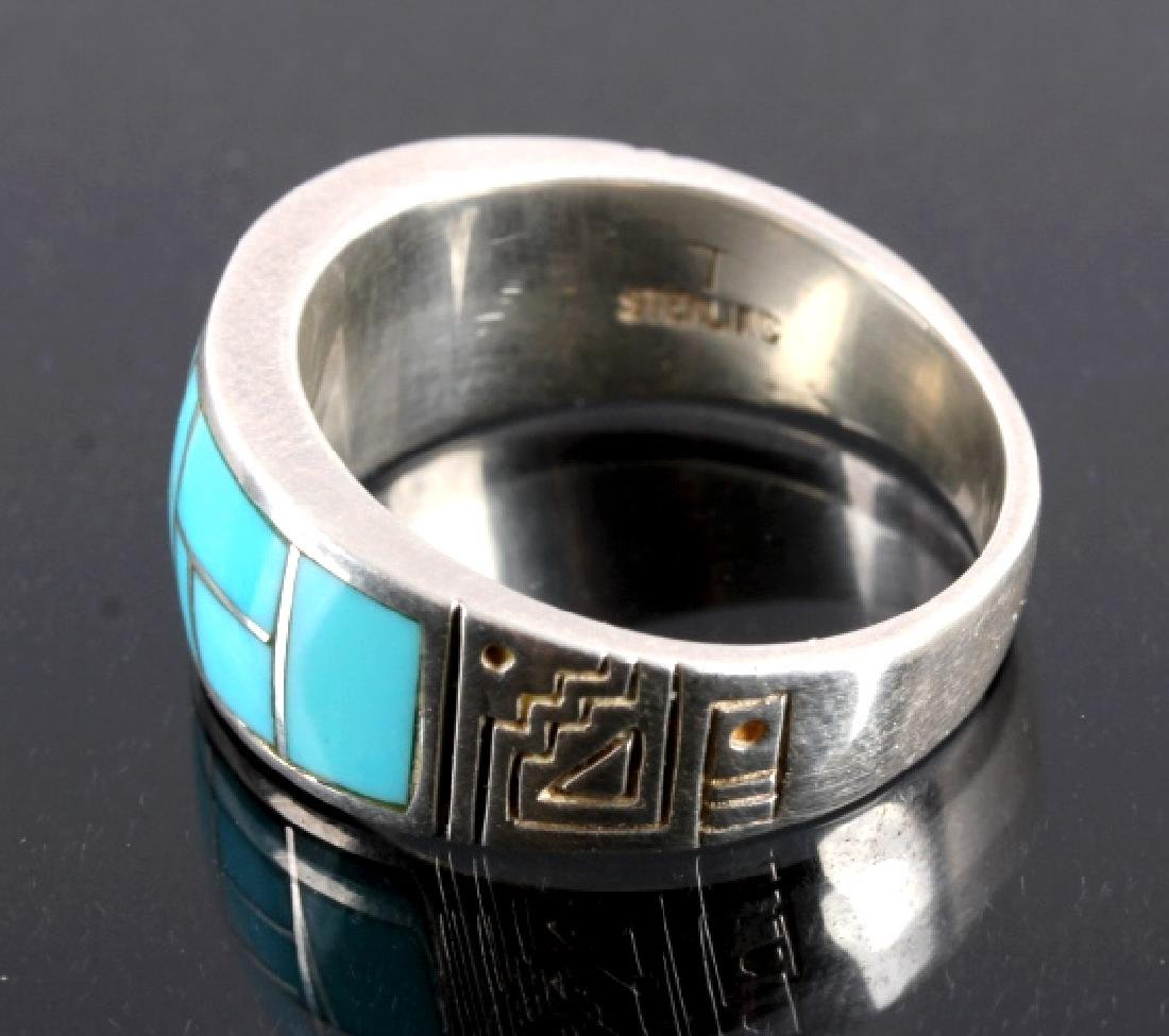Ray Tracey Navajo Sterling Silver Turquoise Ring - 3