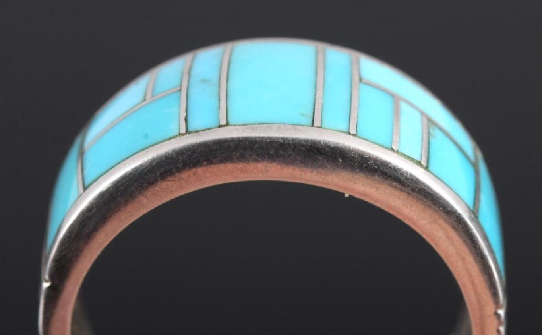Ray Tracey Navajo Sterling Silver Turquoise Ring - 4