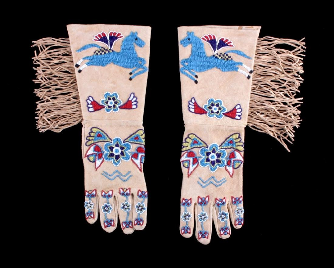 Exceptional Sioux Indian Beaded Gauntlets