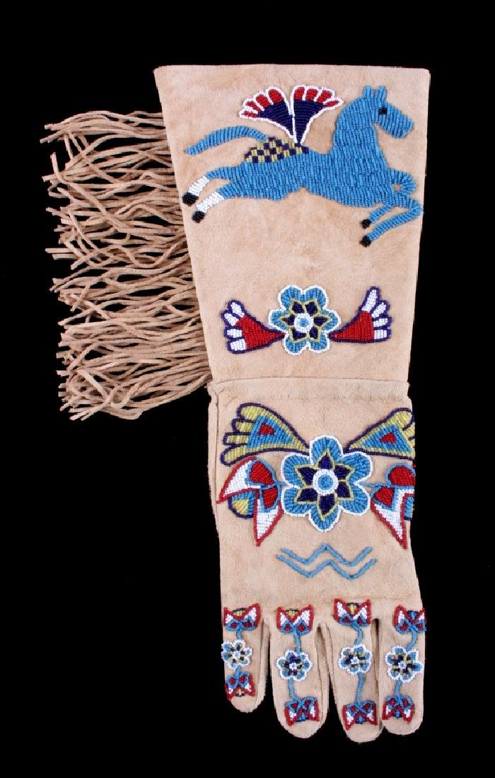 Exceptional Sioux Indian Beaded Gauntlets - 2