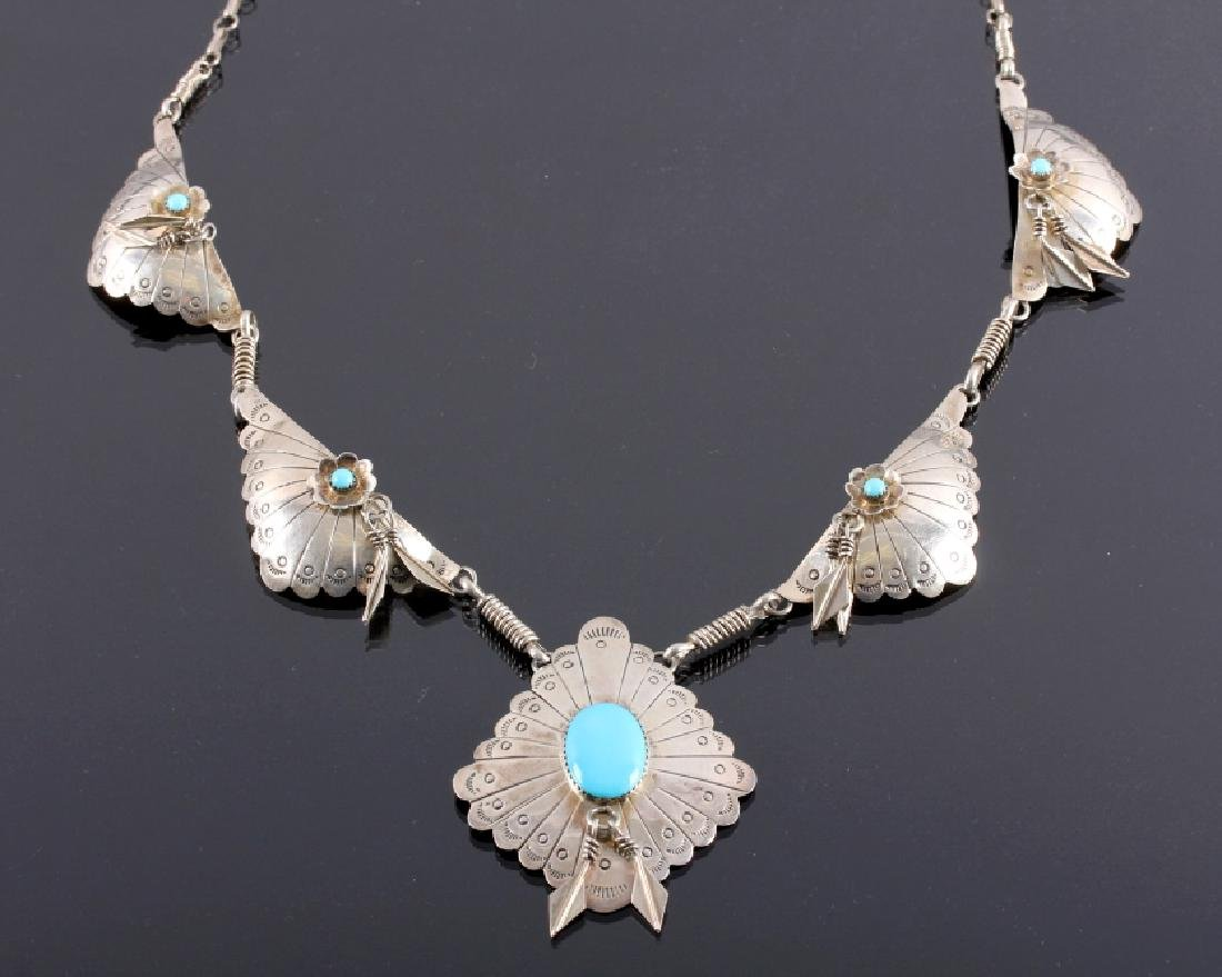 Signed Navajo Sterling Silver Turquoise Necklace - 2