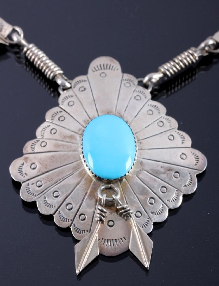Signed Navajo Sterling Silver Turquoise Necklace - 3