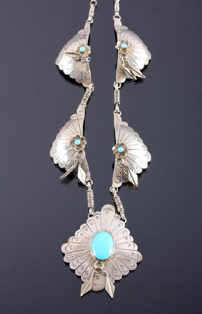 Signed Navajo Sterling Silver Turquoise Necklace - 9