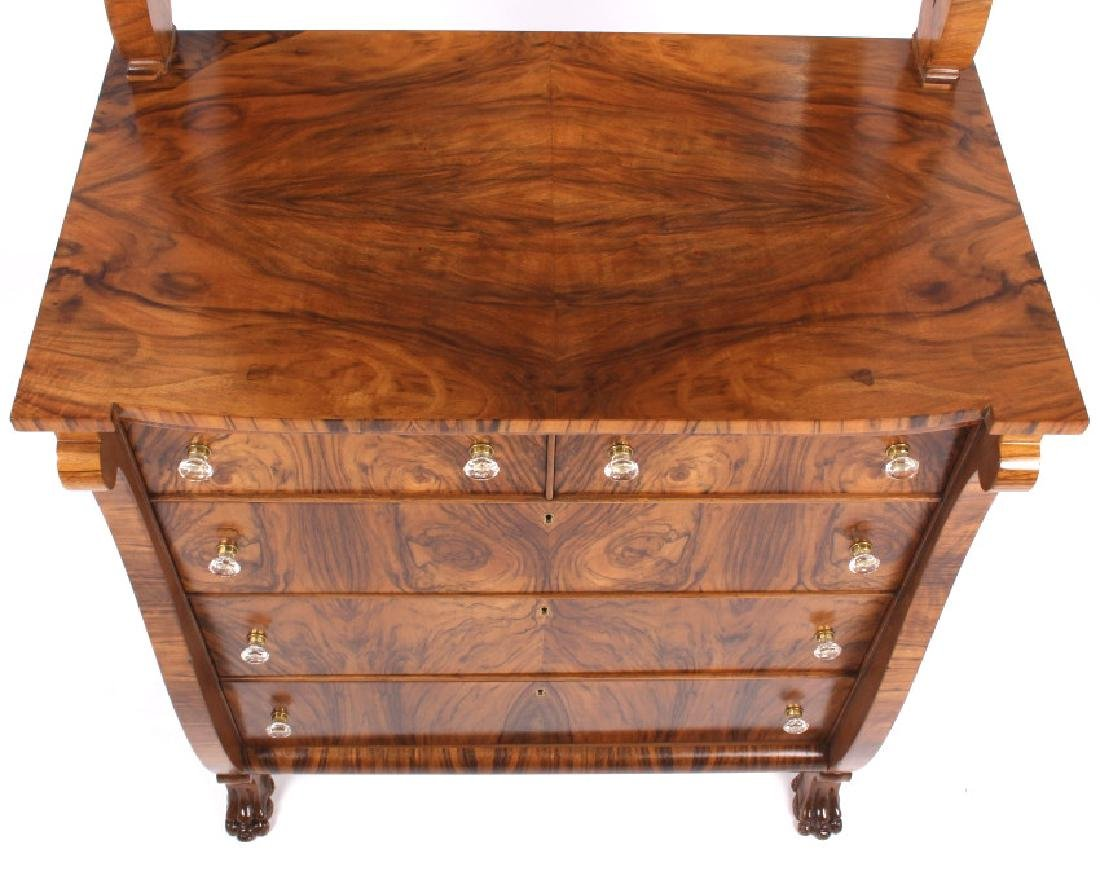 American Empire Burl Veneer High Boy Dresser - 8