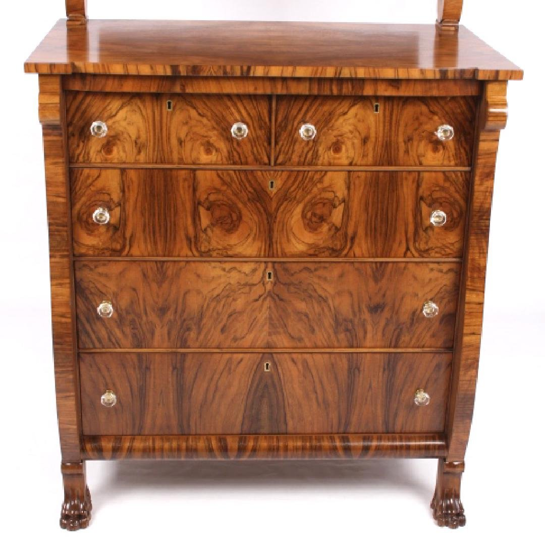 American Empire Burl Veneer High Boy Dresser - 9