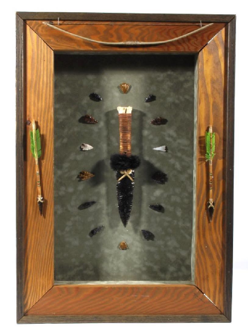 Native American Framed Arrowhead Shadowbox Display