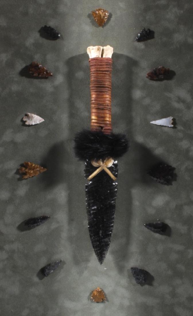 Native American Framed Arrowhead Shadowbox Display - 7
