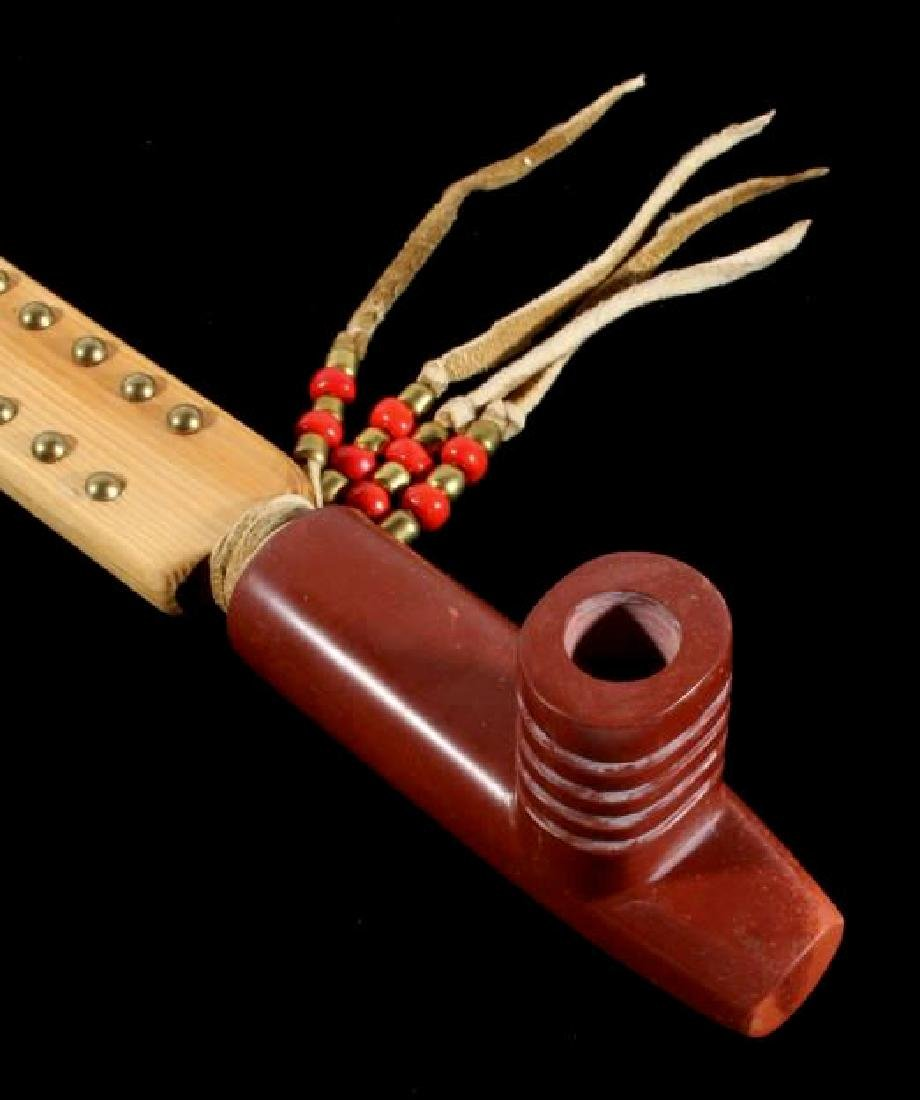 Signed Sioux Beaded & Carved Catlinite Pipe & Stem - 3