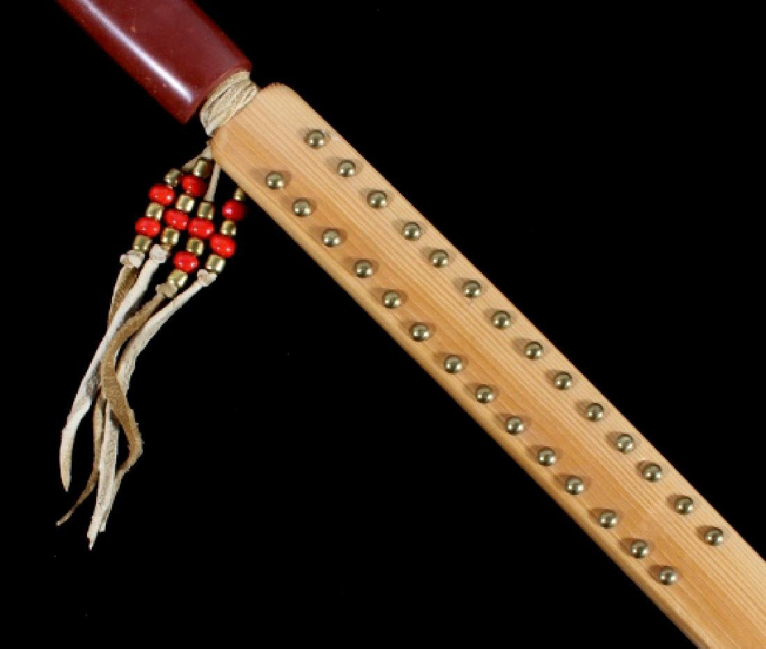 Signed Sioux Beaded & Carved Catlinite Pipe & Stem - 5