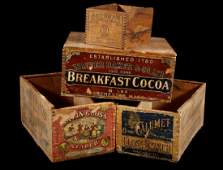 Early Mercantile Labeled Advertising Boxes 19-20th