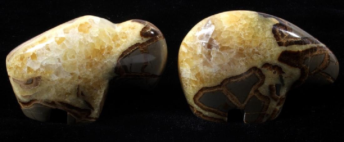 Bear & Buffalo Septarian Nodule Fetish Carvings