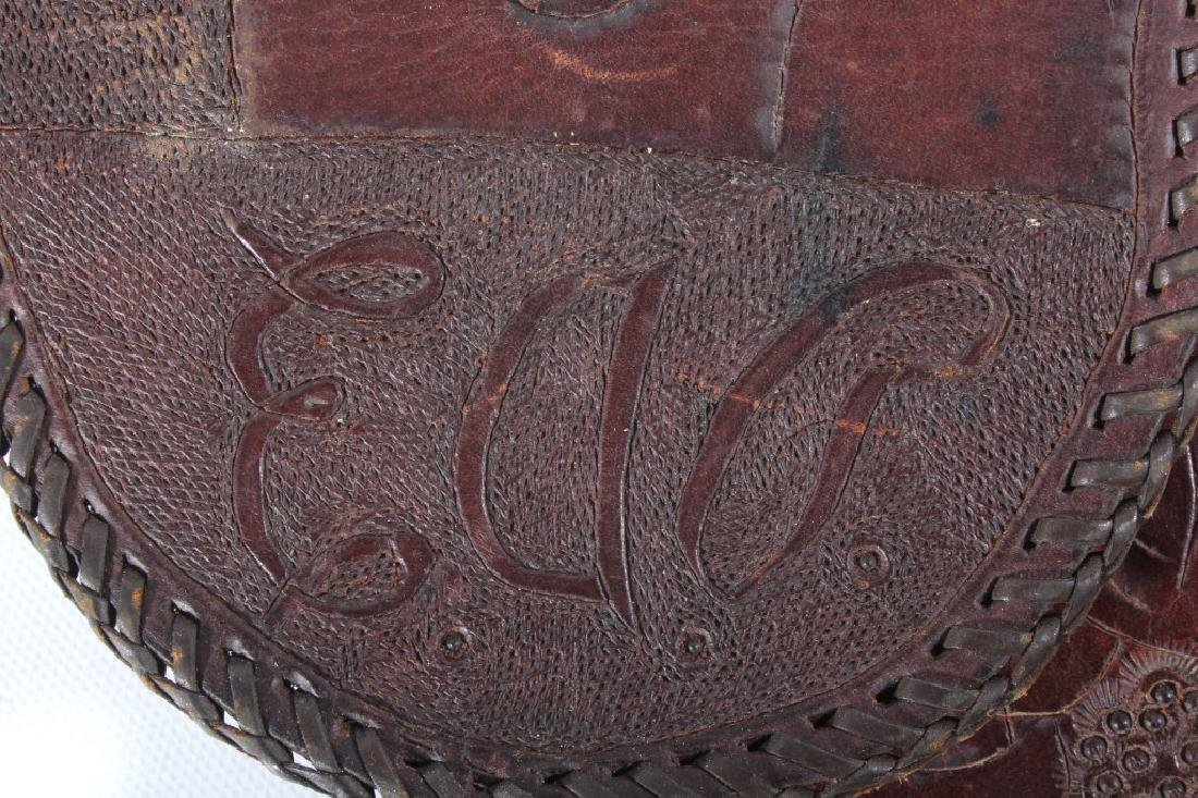 Early Montana Carved & Tooled Leather Holster Belt - 3