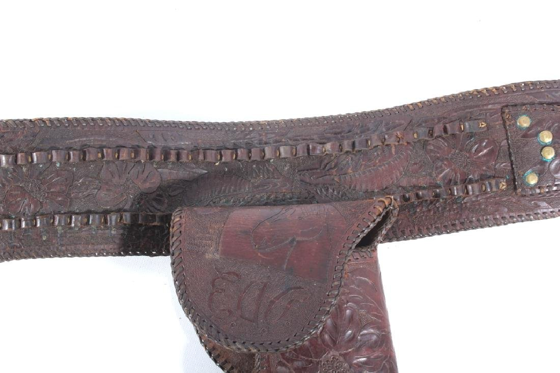 Early Montana Carved & Tooled Leather Holster Belt - 8