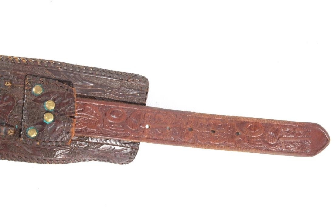 Early Montana Carved & Tooled Leather Holster Belt - 9