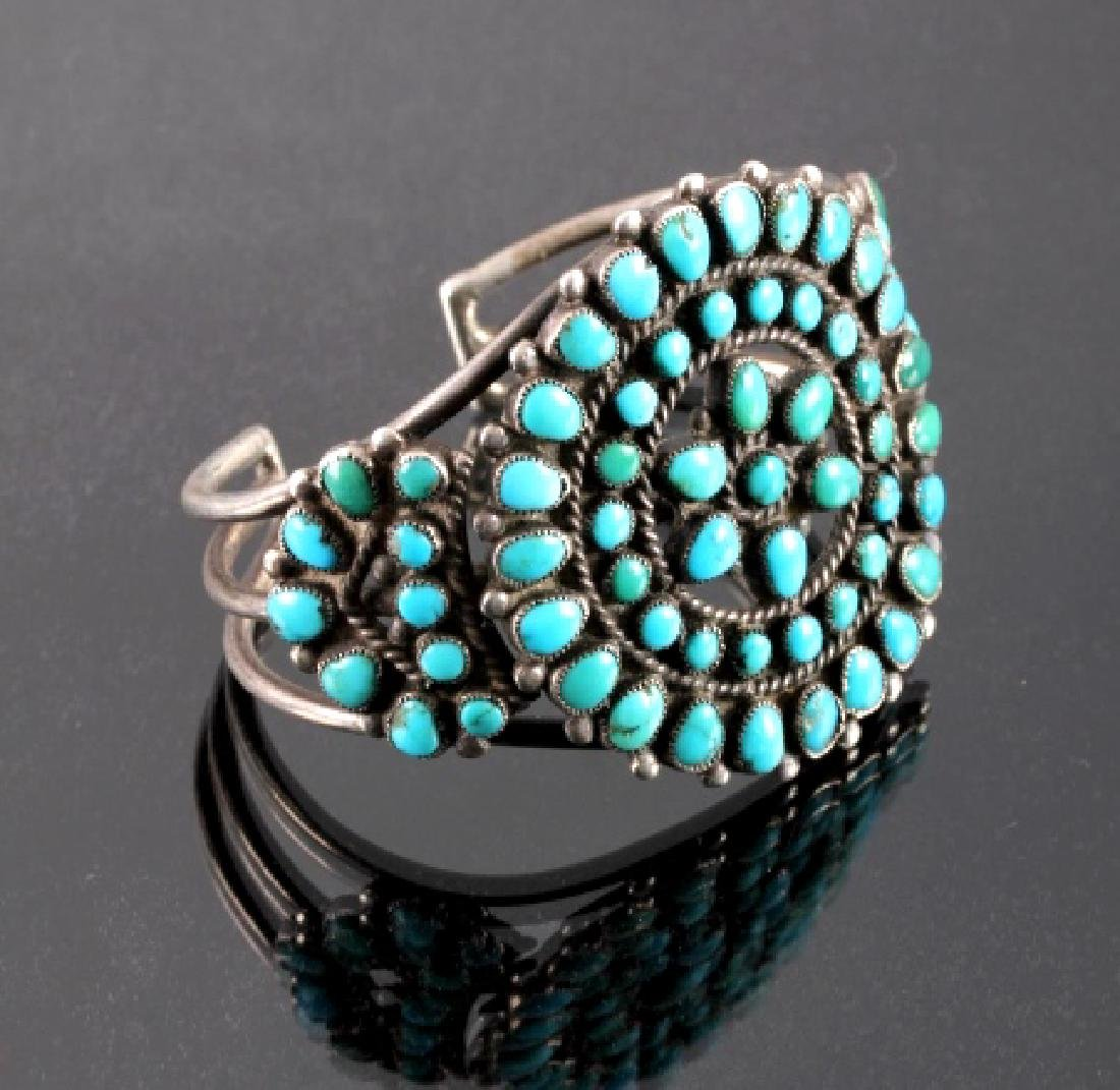 Navajo Sterling Silver Turquoise Petit Point Cuff - 2