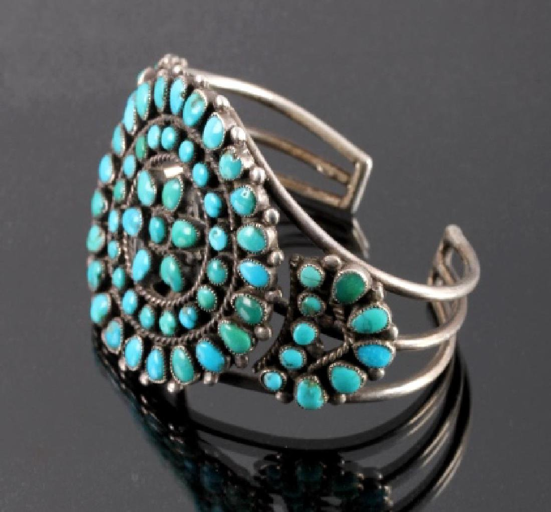 Navajo Sterling Silver Turquoise Petit Point Cuff - 3