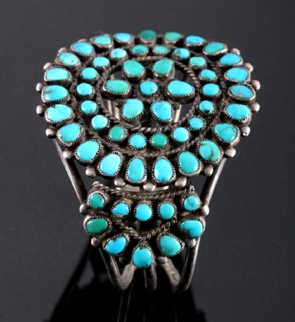 Navajo Sterling Silver Turquoise Petit Point Cuff - 5