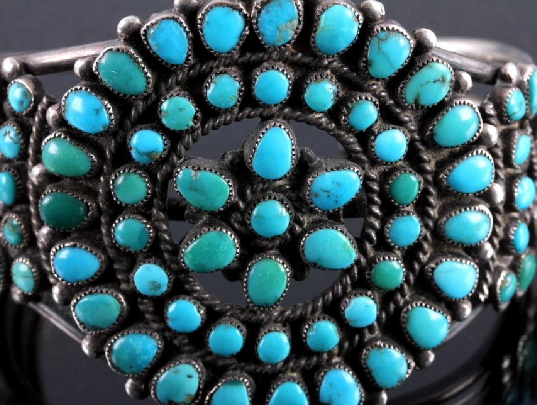 Navajo Sterling Silver Turquoise Petit Point Cuff - 7