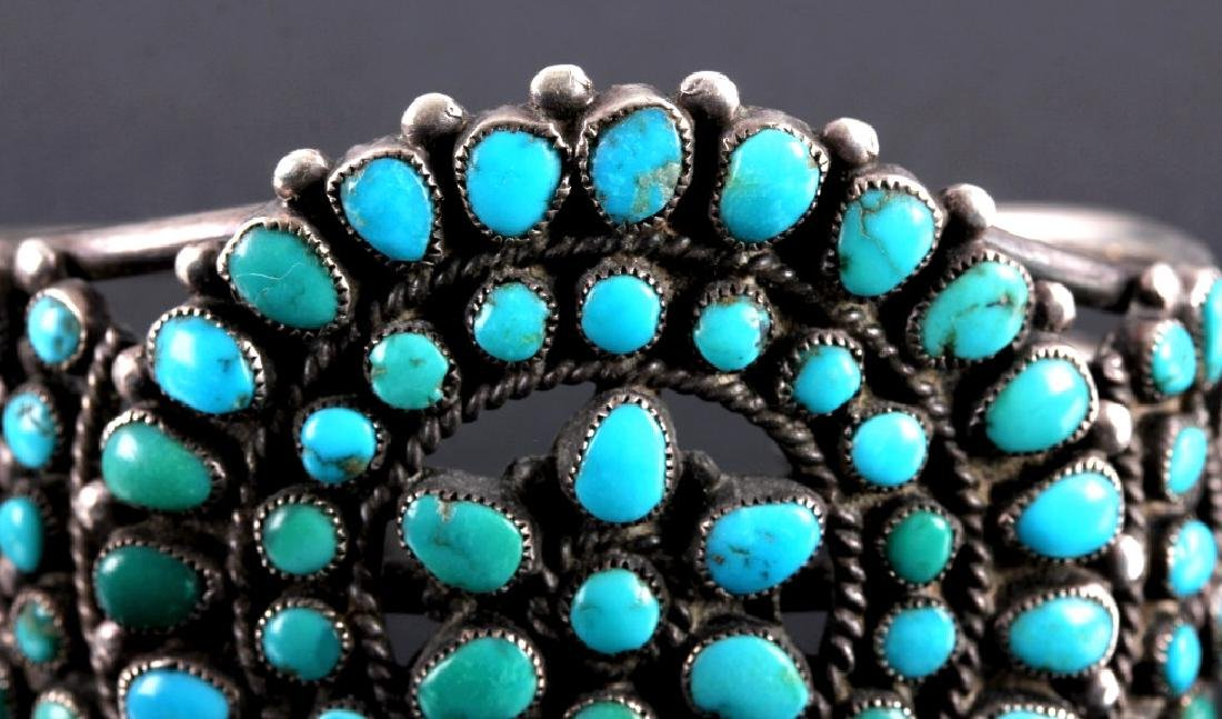 Navajo Sterling Silver Turquoise Petit Point Cuff - 8