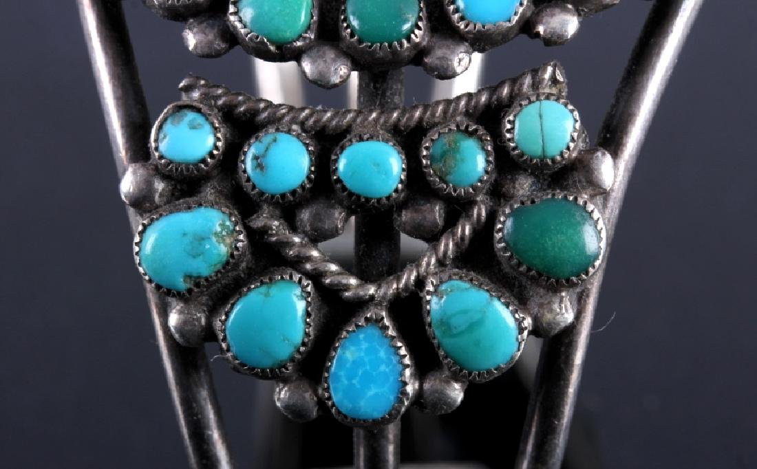 Navajo Sterling Silver Turquoise Petit Point Cuff - 9