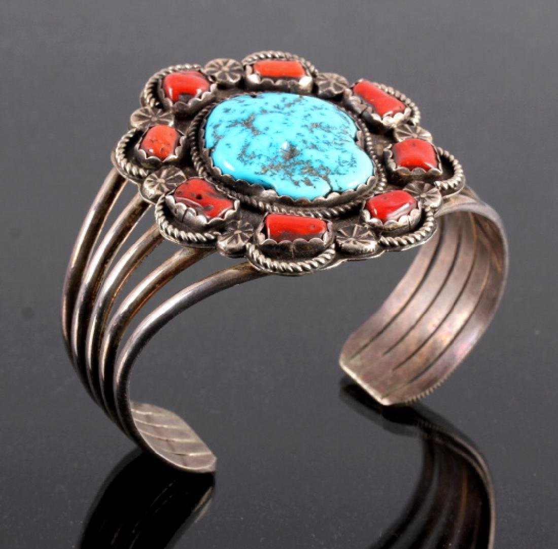 Navajo Sterling Silver Turquoise Coral Cuff