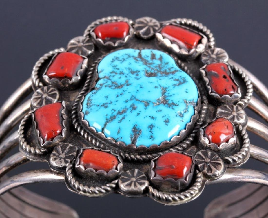Navajo Sterling Silver Turquoise Coral Cuff - 4