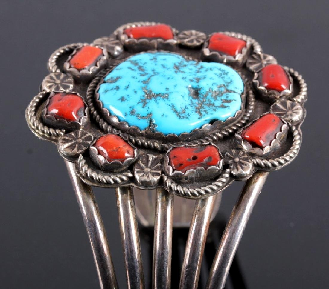 Navajo Sterling Silver Turquoise Coral Cuff - 5
