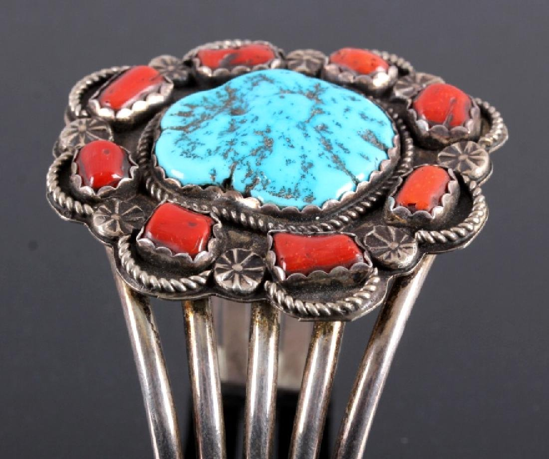 Navajo Sterling Silver Turquoise Coral Cuff - 6