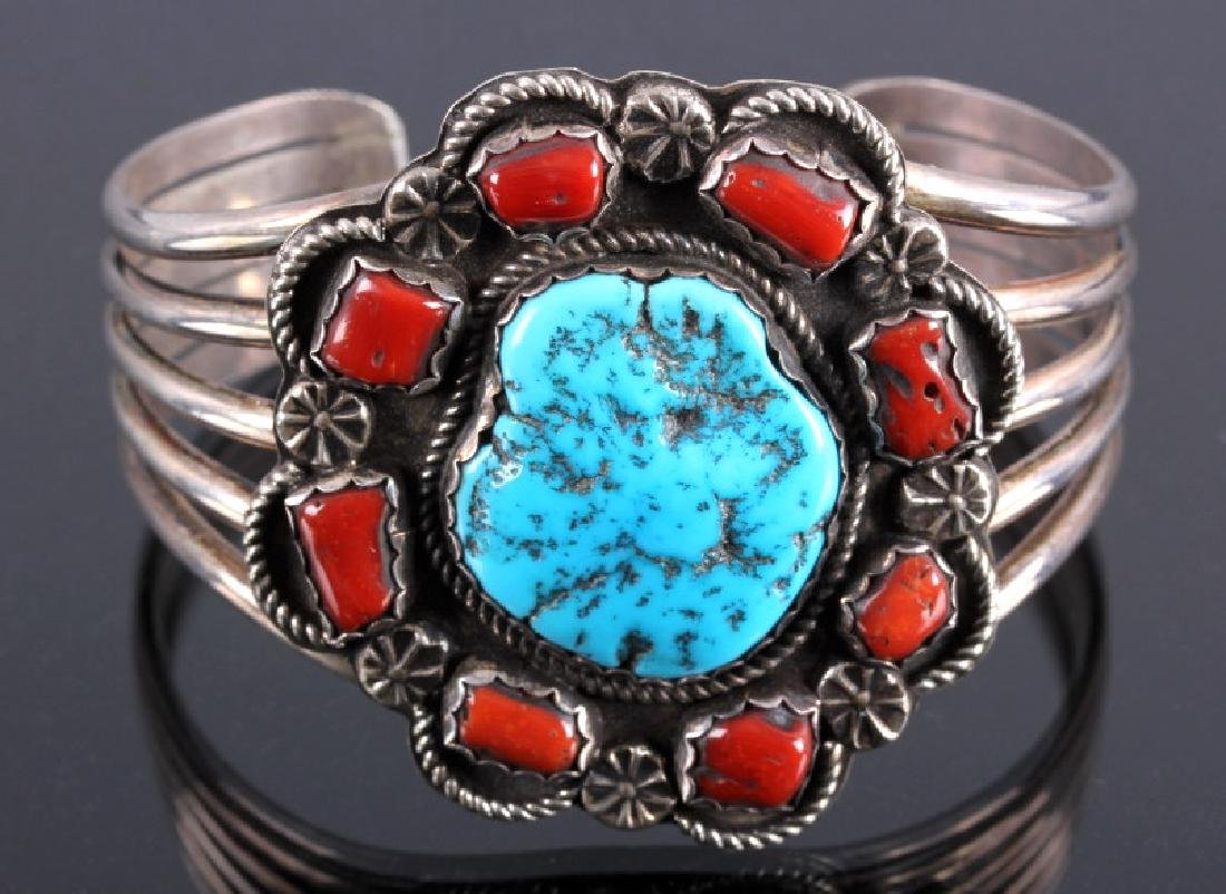 Navajo Sterling Silver Turquoise Coral Cuff - 7
