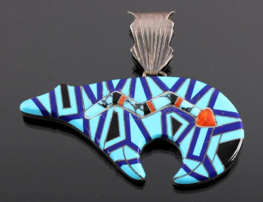 Zuni Sterling Silver Inlaid Mosaic Bear Pendant