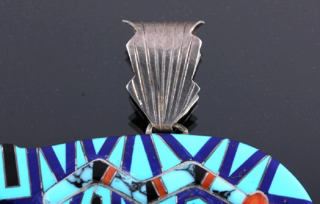 Zuni Sterling Silver Inlaid Mosaic Bear Pendant - 2
