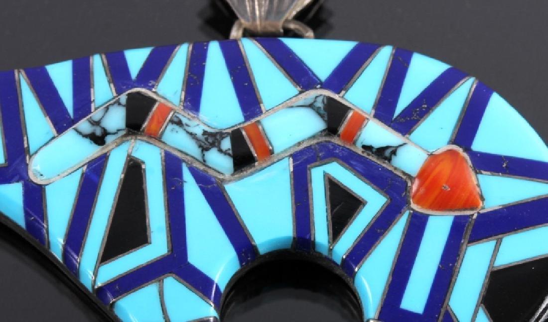 Zuni Sterling Silver Inlaid Mosaic Bear Pendant - 3