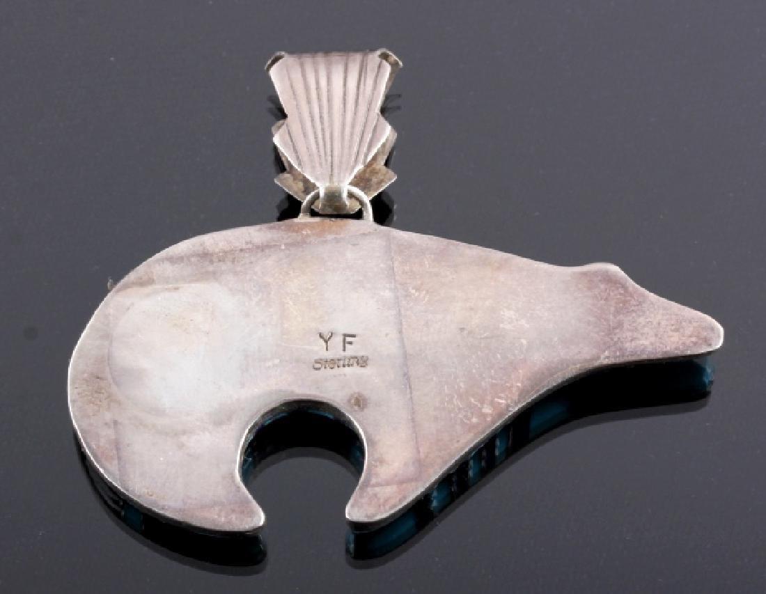 Zuni Sterling Silver Inlaid Mosaic Bear Pendant - 5