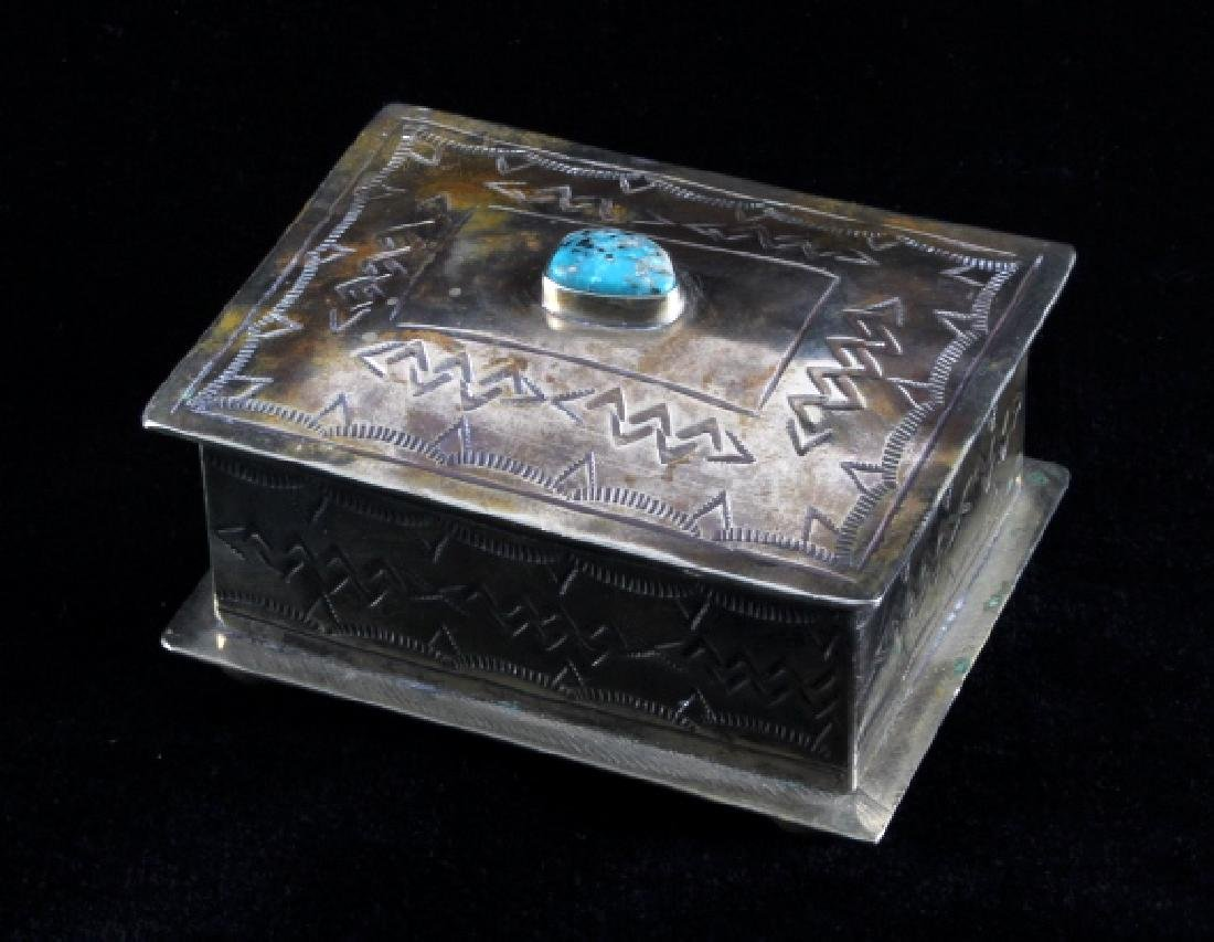 Navajo Sterling Silver Turquoise Jewelry Box - 2