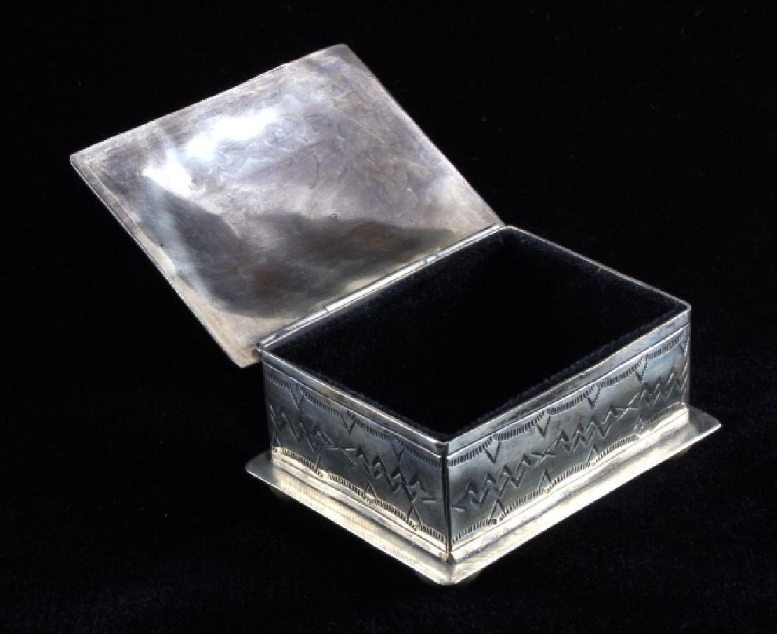 Navajo Sterling Silver Turquoise Jewelry Box - 3
