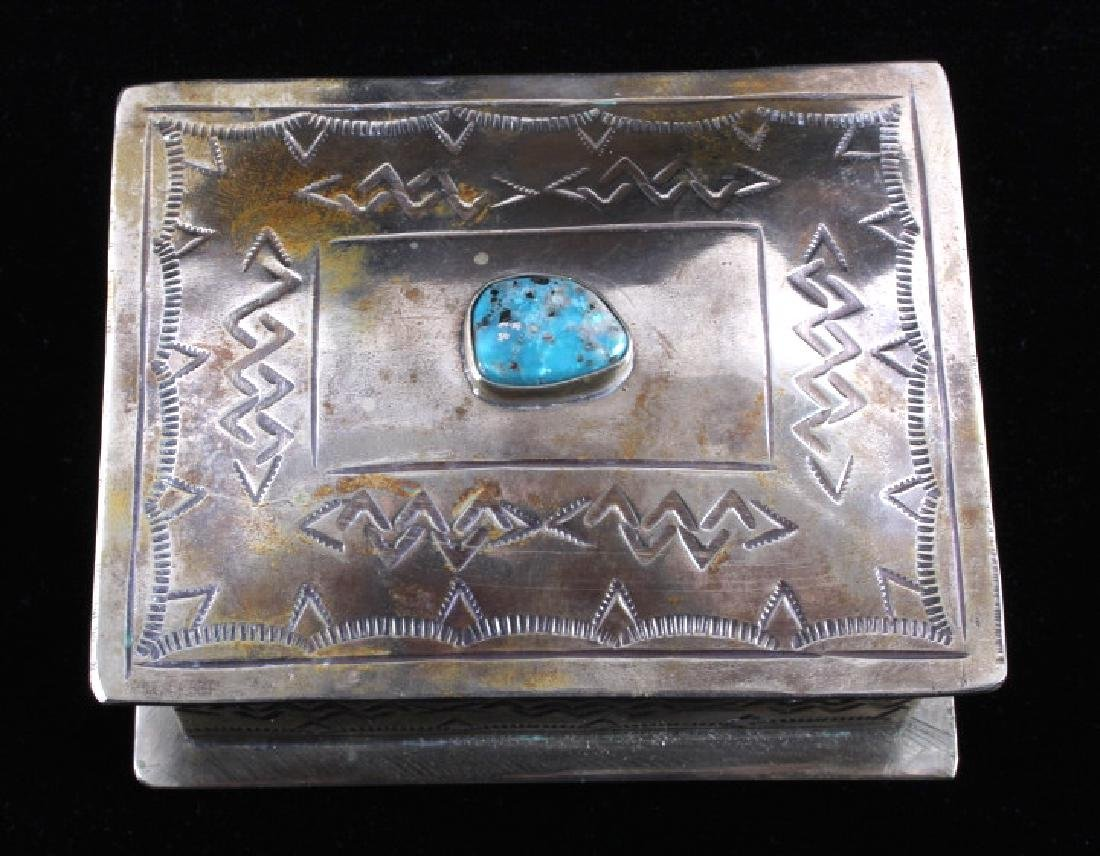 Navajo Sterling Silver Turquoise Jewelry Box - 4