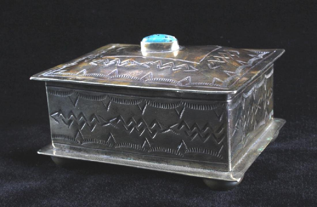Navajo Sterling Silver Turquoise Jewelry Box - 6