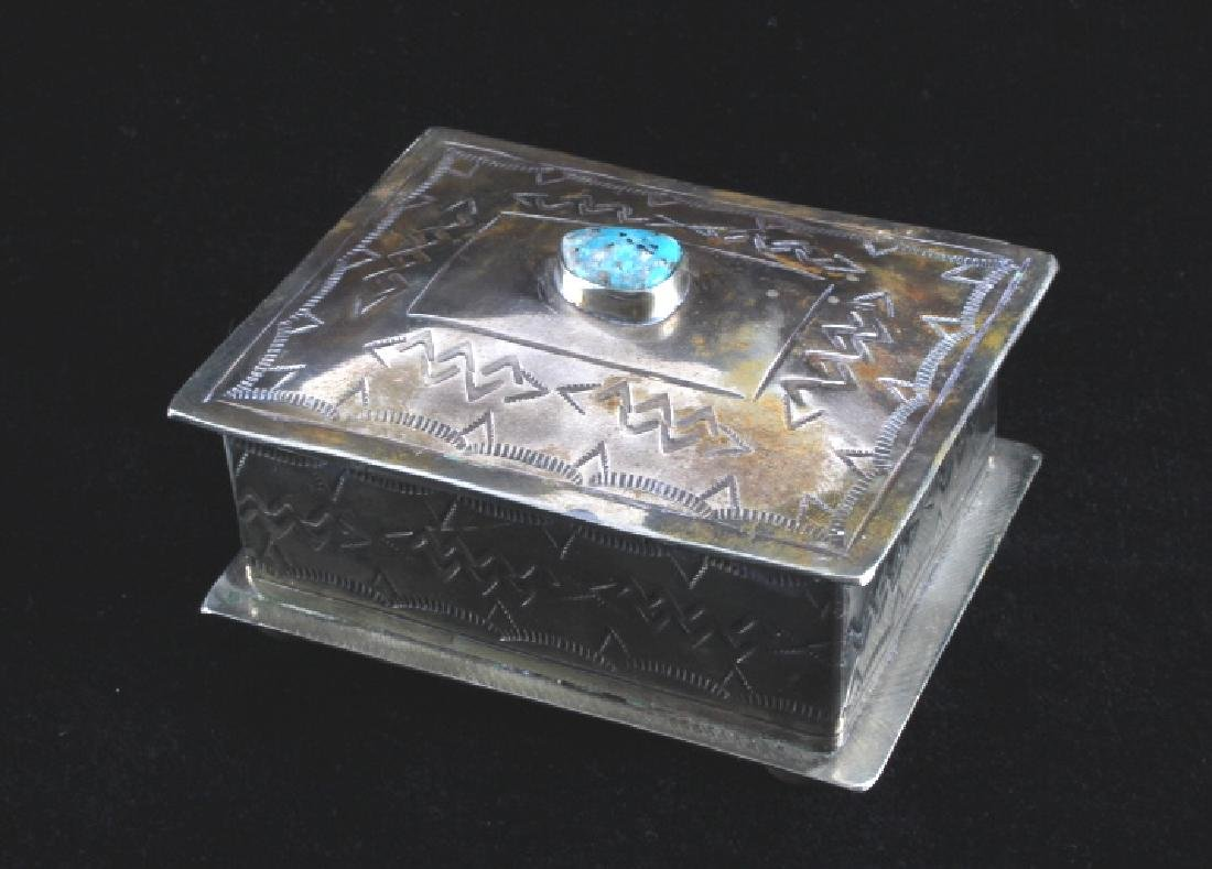 Navajo Sterling Silver Turquoise Jewelry Box - 7