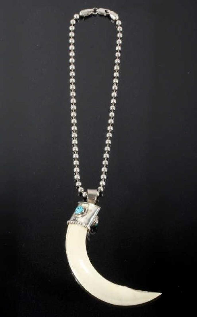 Navajo Wild Boar Tusk, Silver & Turquoise Necklace