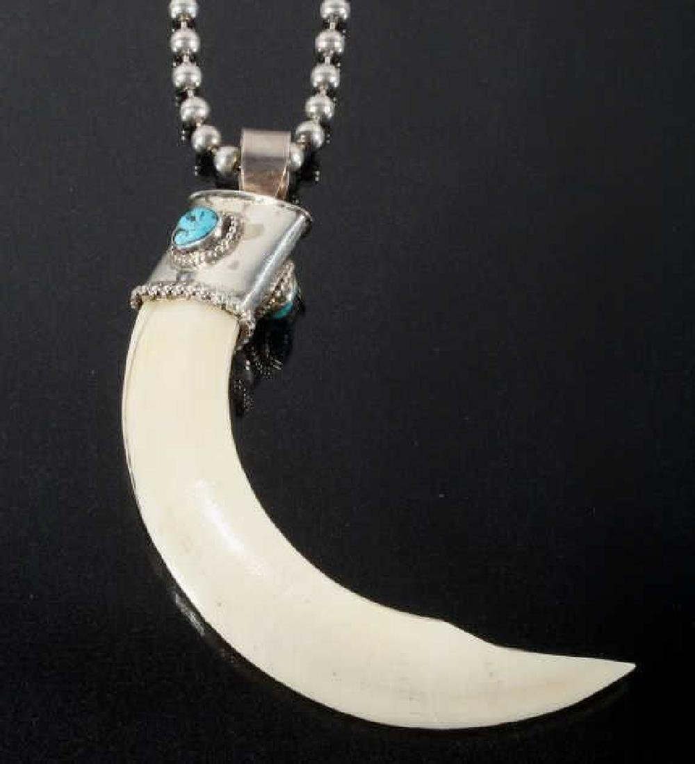 Navajo Wild Boar Tusk, Silver & Turquoise Necklace - 2