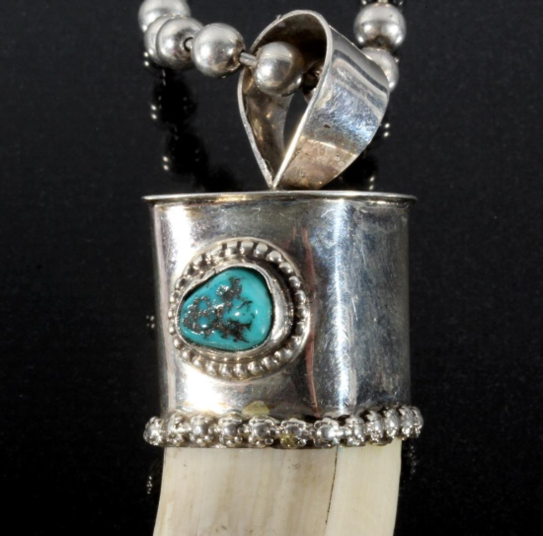 Navajo Wild Boar Tusk, Silver & Turquoise Necklace - 6