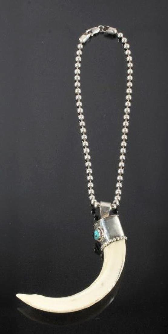 Navajo Wild Boar Tusk, Silver & Turquoise Necklace - 7