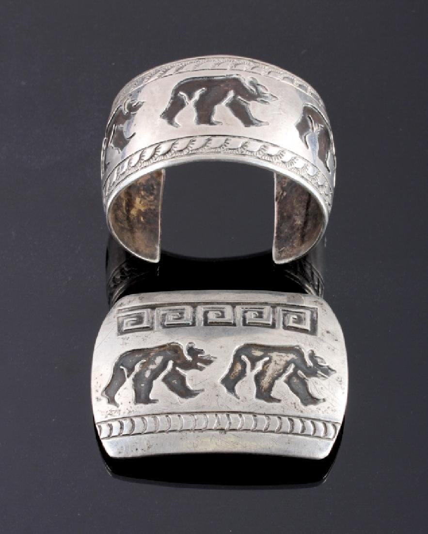 Signed Navajo Sterling Silver Belt Buckle & Cuff