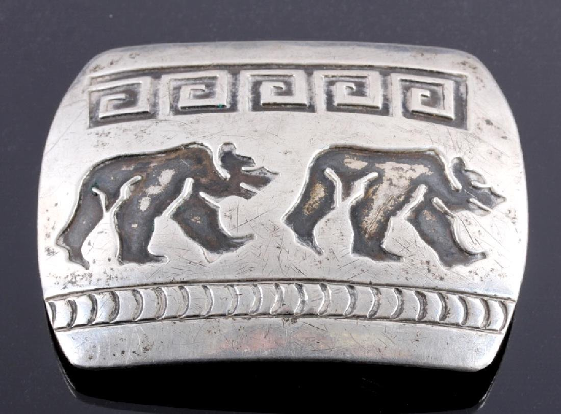 Signed Navajo Sterling Silver Belt Buckle & Cuff - 2