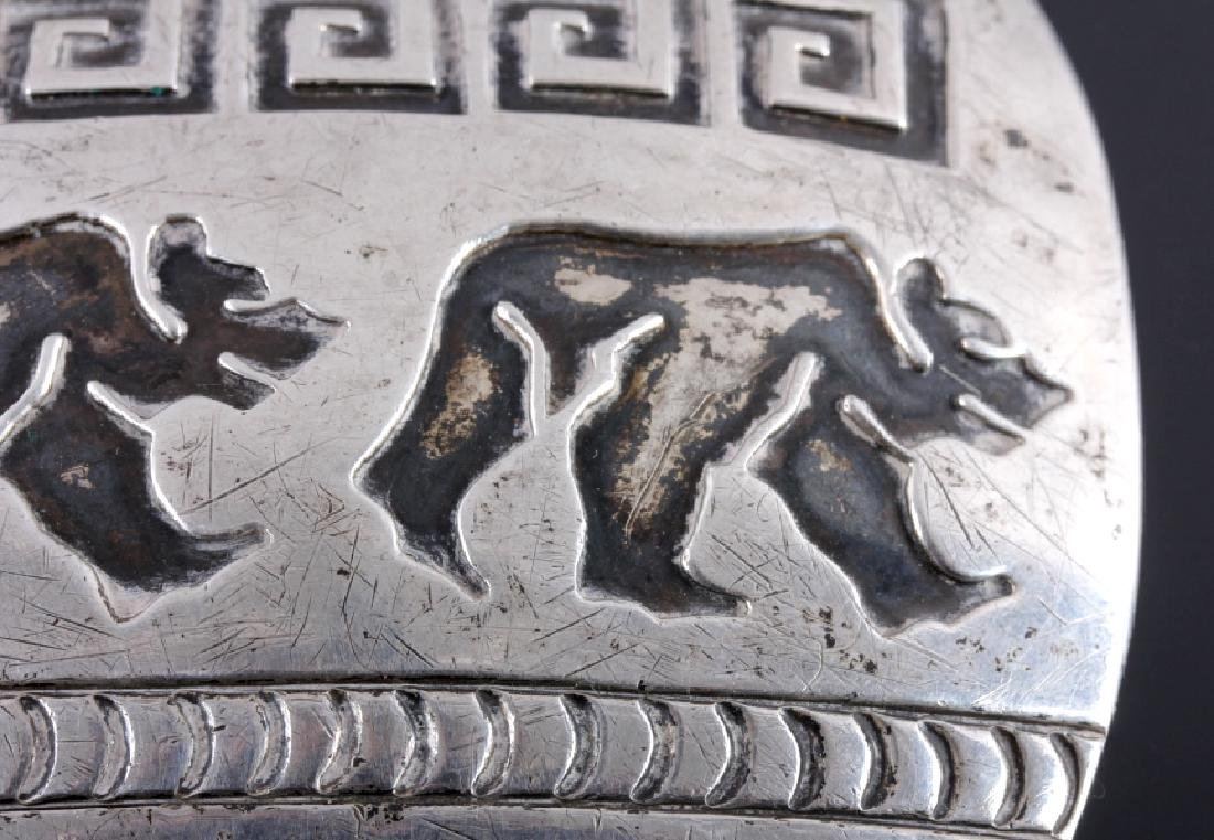 Signed Navajo Sterling Silver Belt Buckle & Cuff - 4