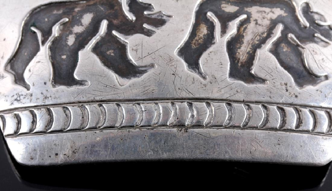 Signed Navajo Sterling Silver Belt Buckle & Cuff - 6