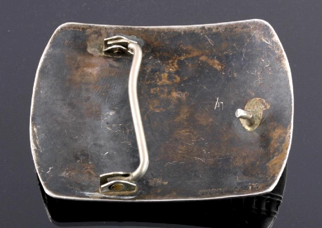 Signed Navajo Sterling Silver Belt Buckle & Cuff - 7