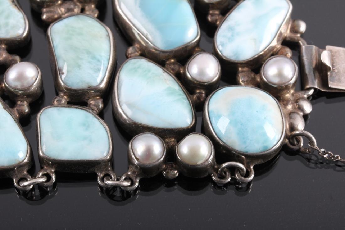 Sterling Silver and Larimar Bracelet - 10