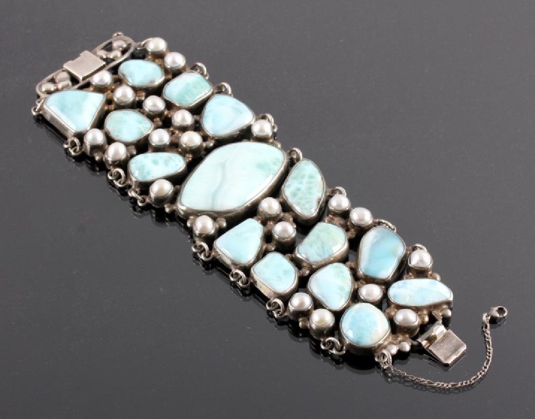 Sterling Silver and Larimar Bracelet
